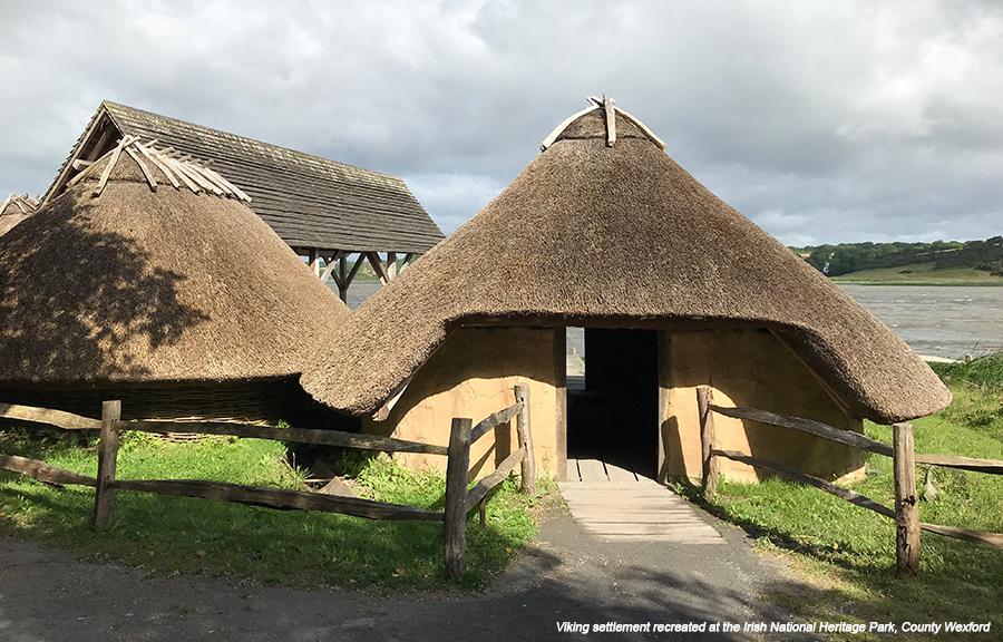 Viking Ireland settlement - two circular historical buildings with pointed, thatched roofs, surrounded by wooden fencing and grass. Lake and landscape in the background.