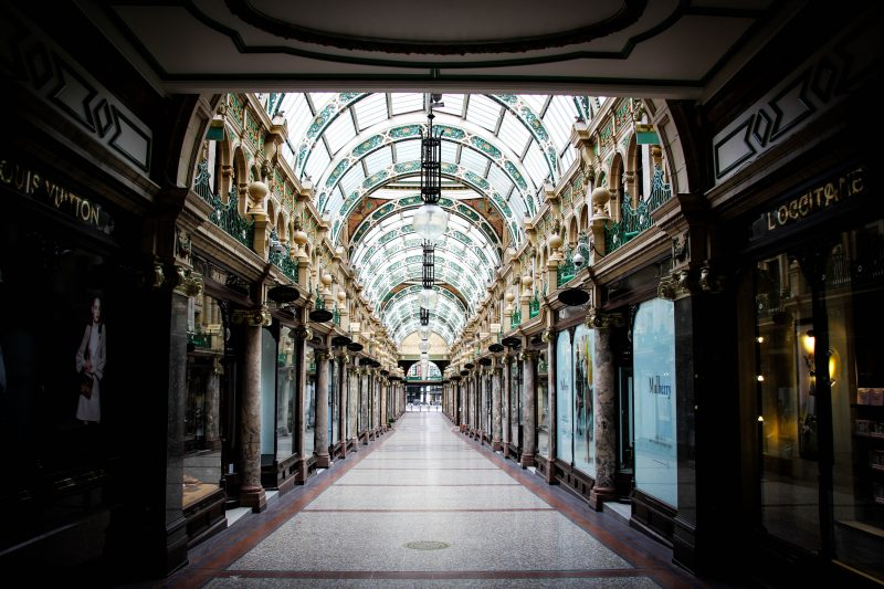 Period shopping arcade with decorative glass domed roof. Visit Leeds seeking to create bookable products for the tourism market.