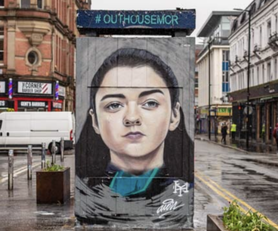 Painted mural in a street in Manchester