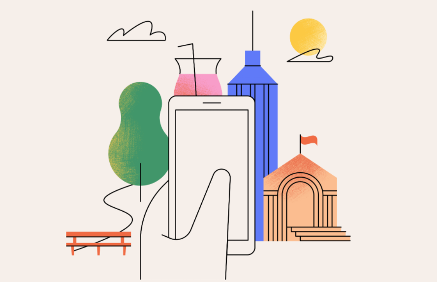 Graphic illustration of cityscape and mobile phone in hand to foreground
