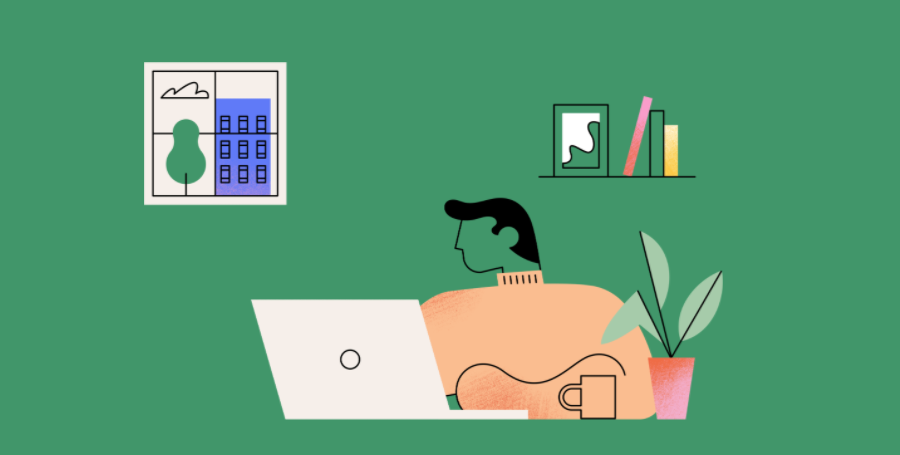 Brand refresh example. Male at desk with laptop, shelf with books and window to background representing brand.