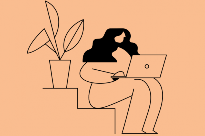 Graphic illustration of female figure sitting on step with laptop