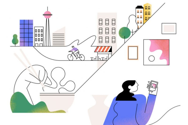Graphic illustration of cityscape and figure to foreground. Part of brand refresh.